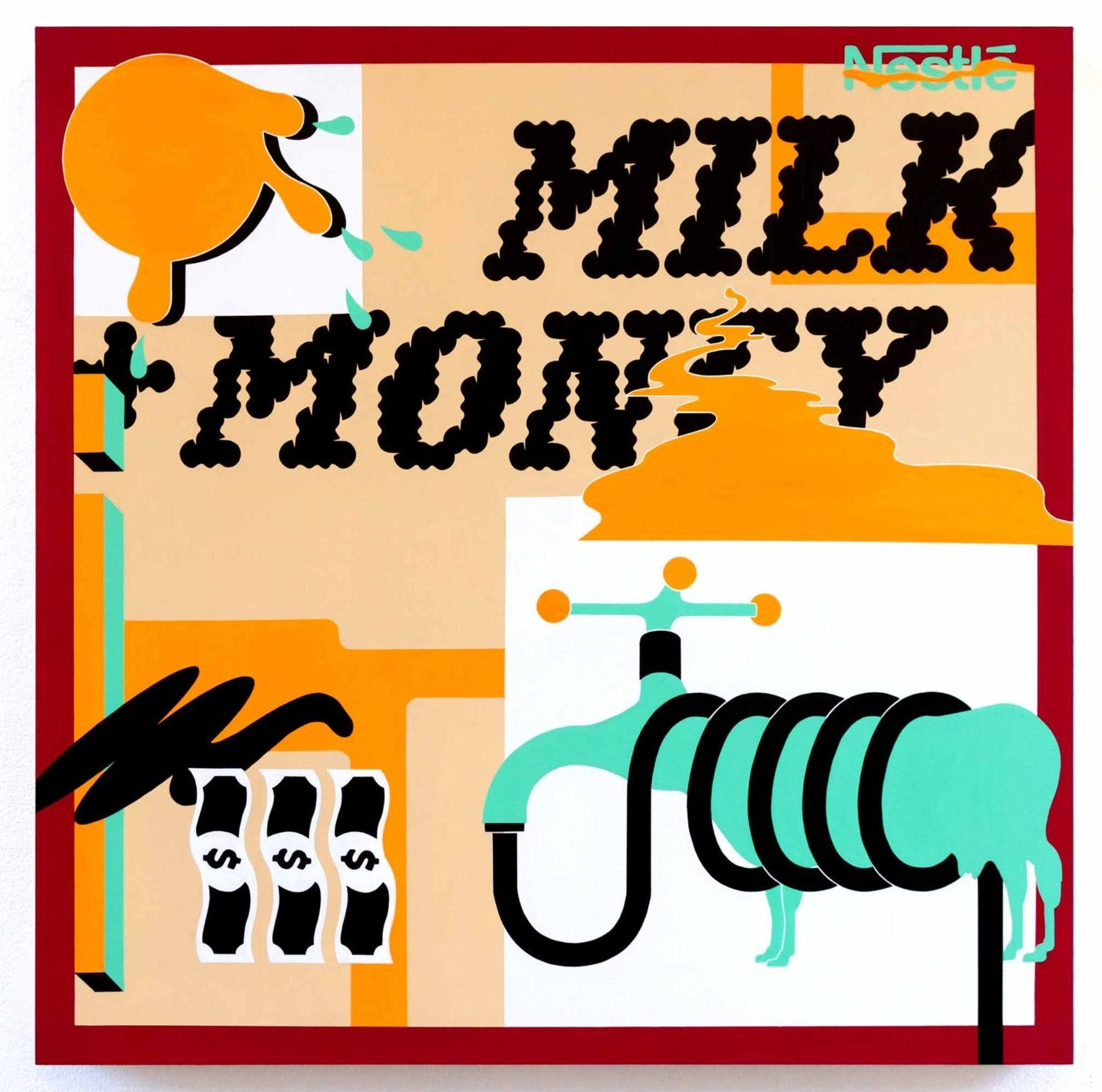 "Multi colored graphic artwork with text ""milk money"""