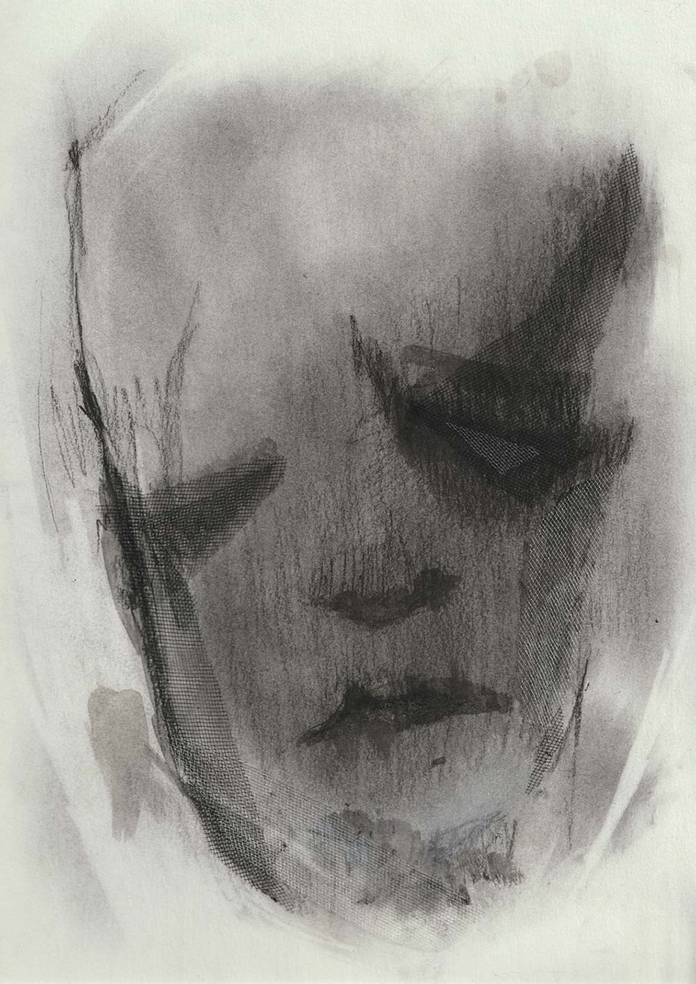 Drawing with various black media on white paper. Drawn elements for a face-like shape.