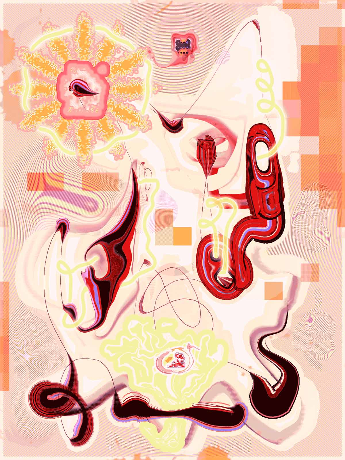 A vertically oriented print featuring surreal, organic shapes in pink, yellow, peach, and white with dark linework.