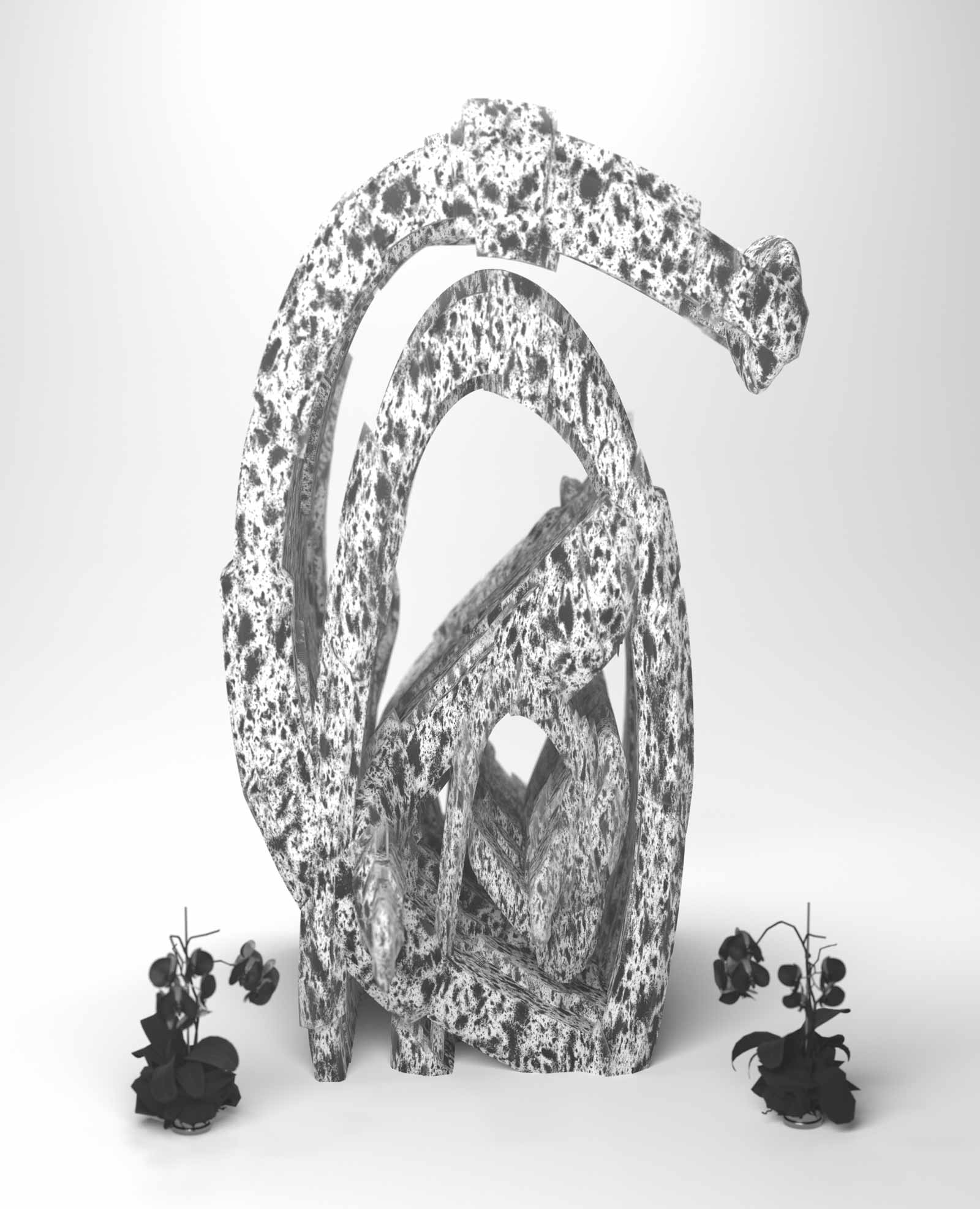 Vertically oriented sculpture. Oblong shape twisted into a swirling shape. Surface is white with black drip or stains over the entire surface. Several small black sculptures reminiscent of flowering plants sit around the base of the main sculpture.